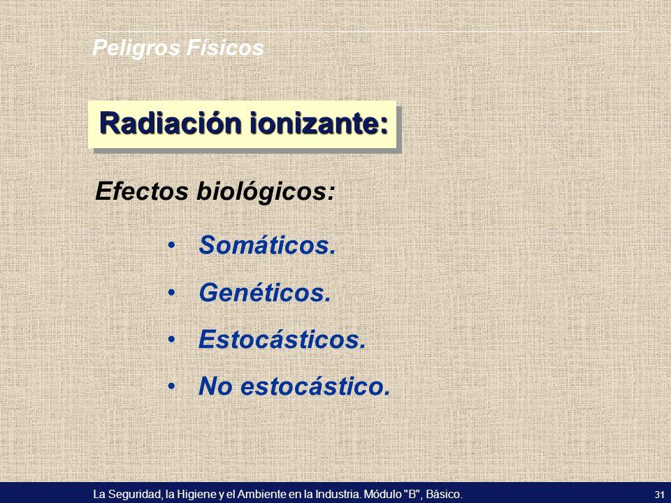 Radiación ionizante: Efectos biológicos: Somáticos. Genéticos.