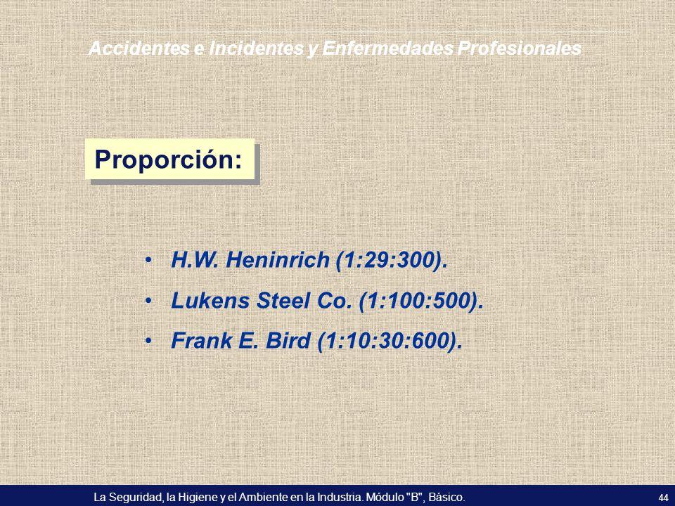 Proporción: H.W. Heninrich (1:29:300). Lukens Steel Co. (1:100:500).