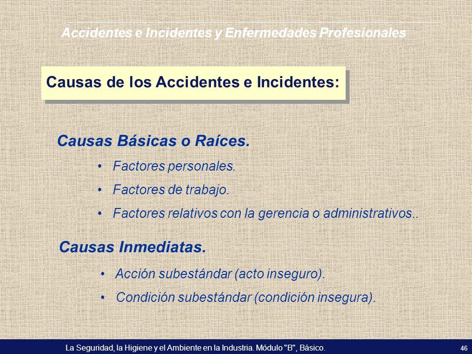 Causas de los Accidentes e Incidentes: