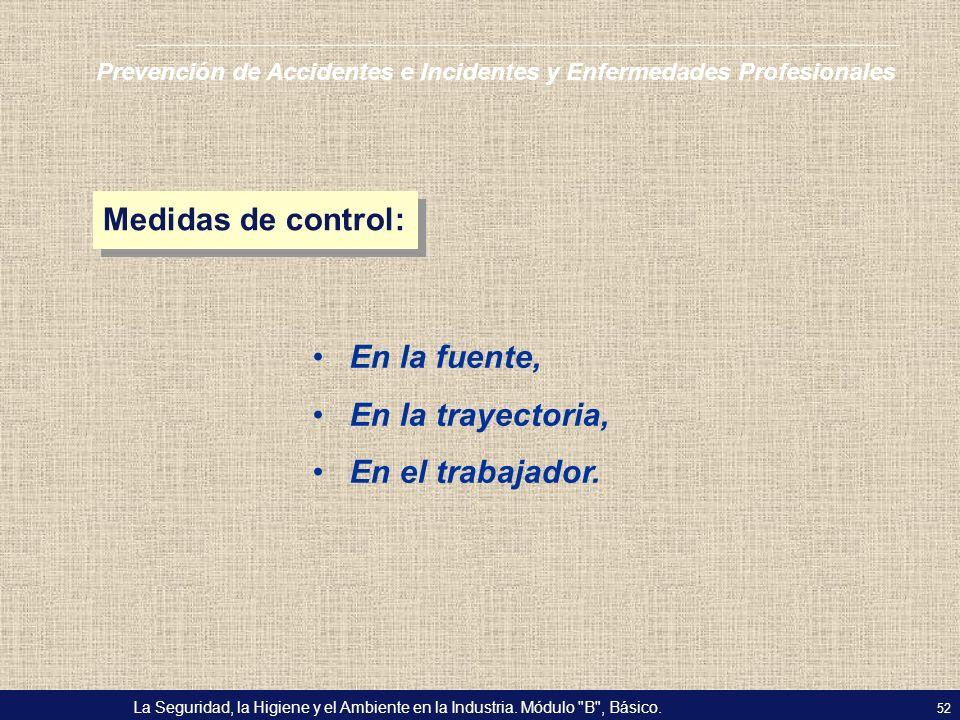 Medidas de control: En la fuente, En la trayectoria, En el trabajador.