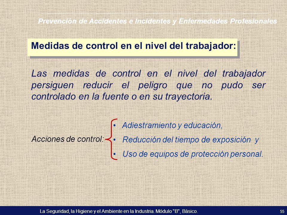 Medidas de control en el nivel del trabajador: