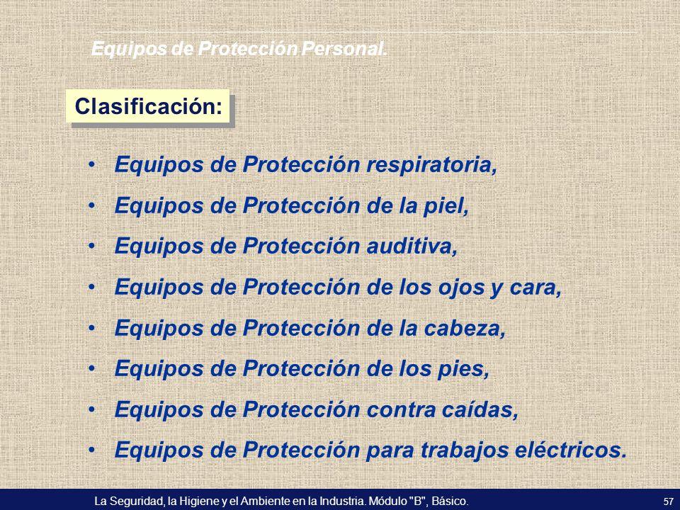 Equipos de Protección respiratoria, Equipos de Protección de la piel,