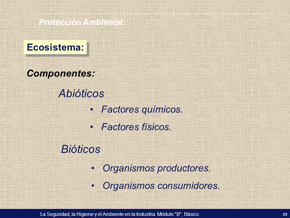 Abióticos Bióticos Ecosistema: Componentes: Factores químicos.
