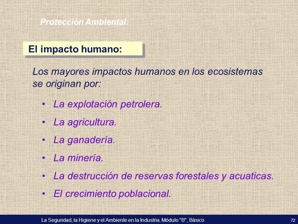 Los mayores impactos humanos en los ecosistemas se originan por: