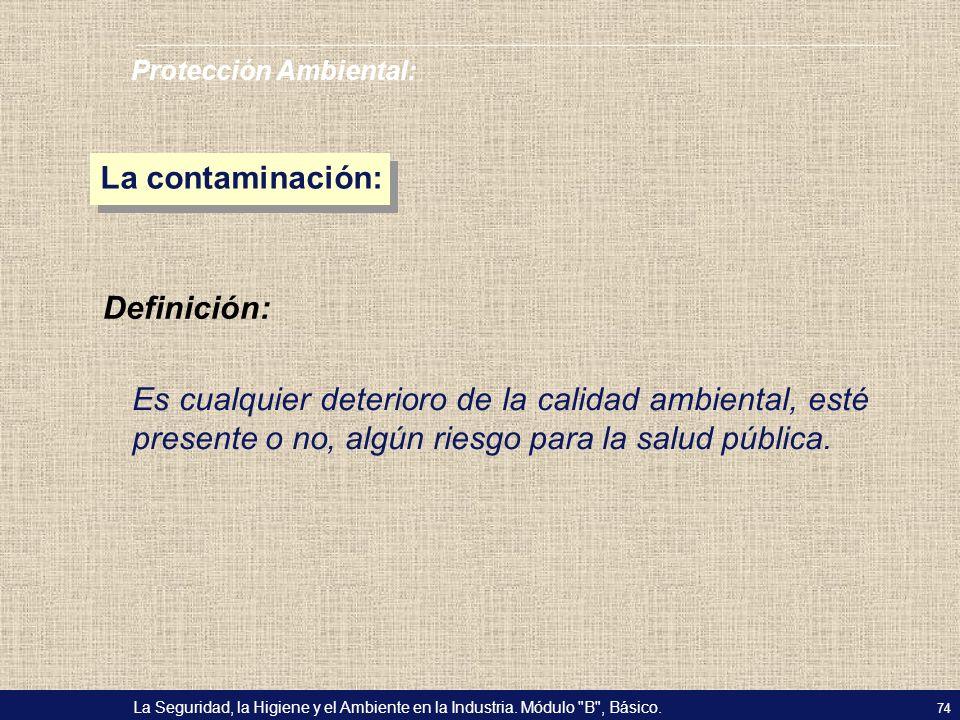 La contaminación: Definición: