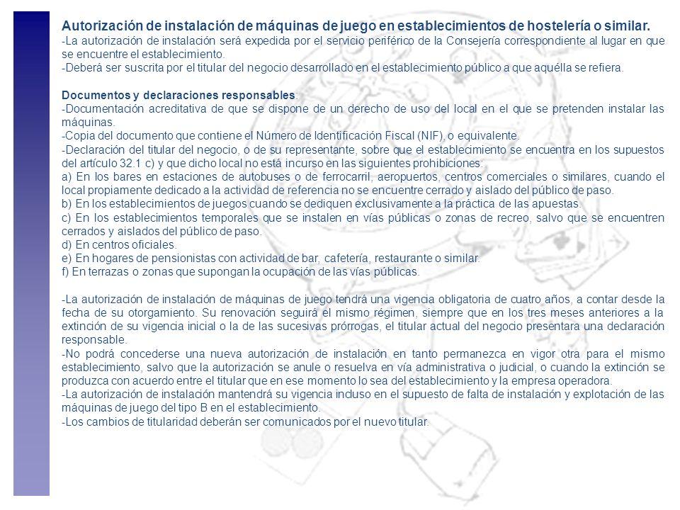 Autorización de instalación de máquinas de juego en establecimientos de hostelería o similar.