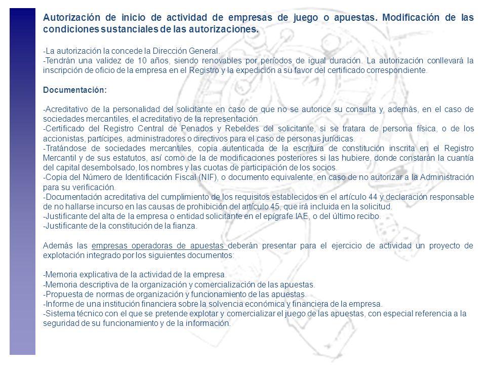 Autorización de inicio de actividad de empresas de juego o apuestas