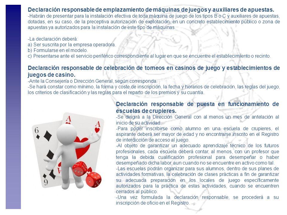 Declaración responsable de emplazamiento de máquinas de juegos y auxiliares de apuestas.
