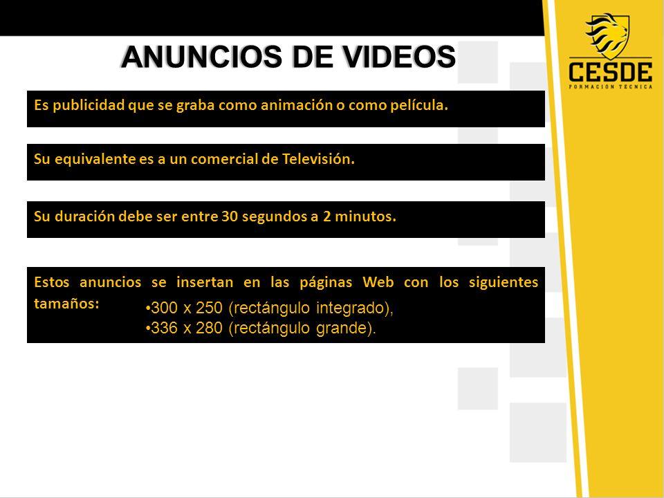 ANUNCIOS DE VIDEOS Es publicidad que se graba como animación o como película. Su equivalente es a un comercial de Televisión.