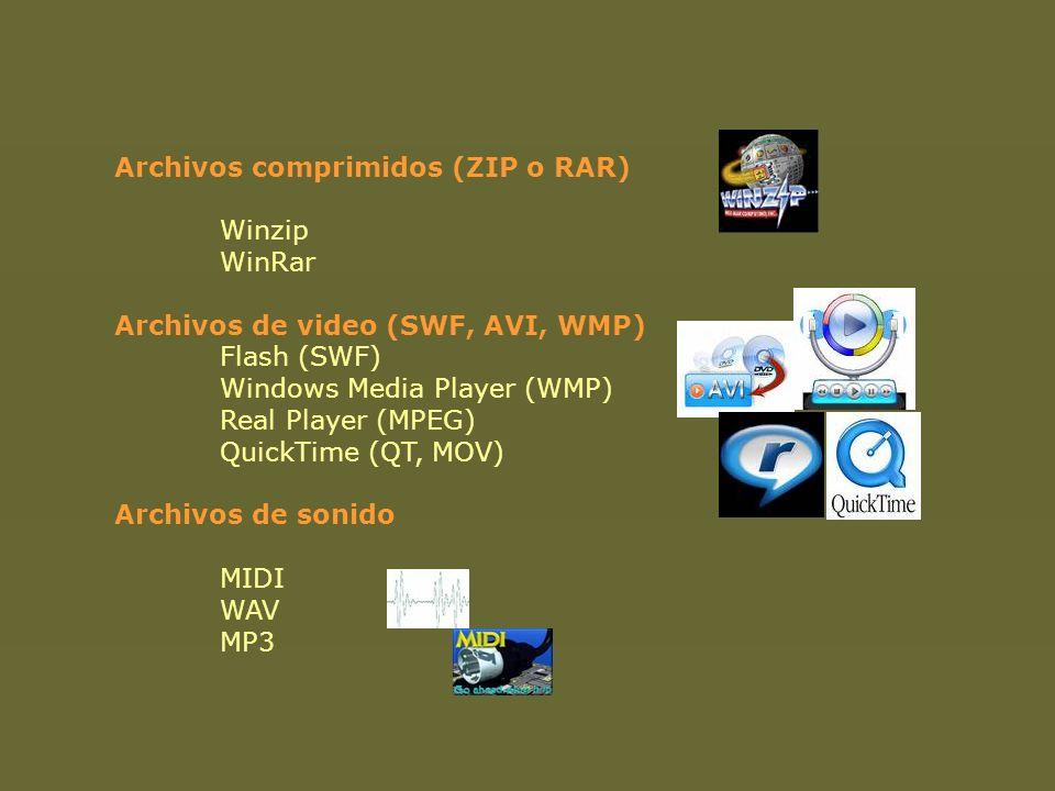 Archivos comprimidos (ZIP o RAR) Winzip. WinRar. Archivos de video (SWF, AVI, WMP) Flash (SWF)