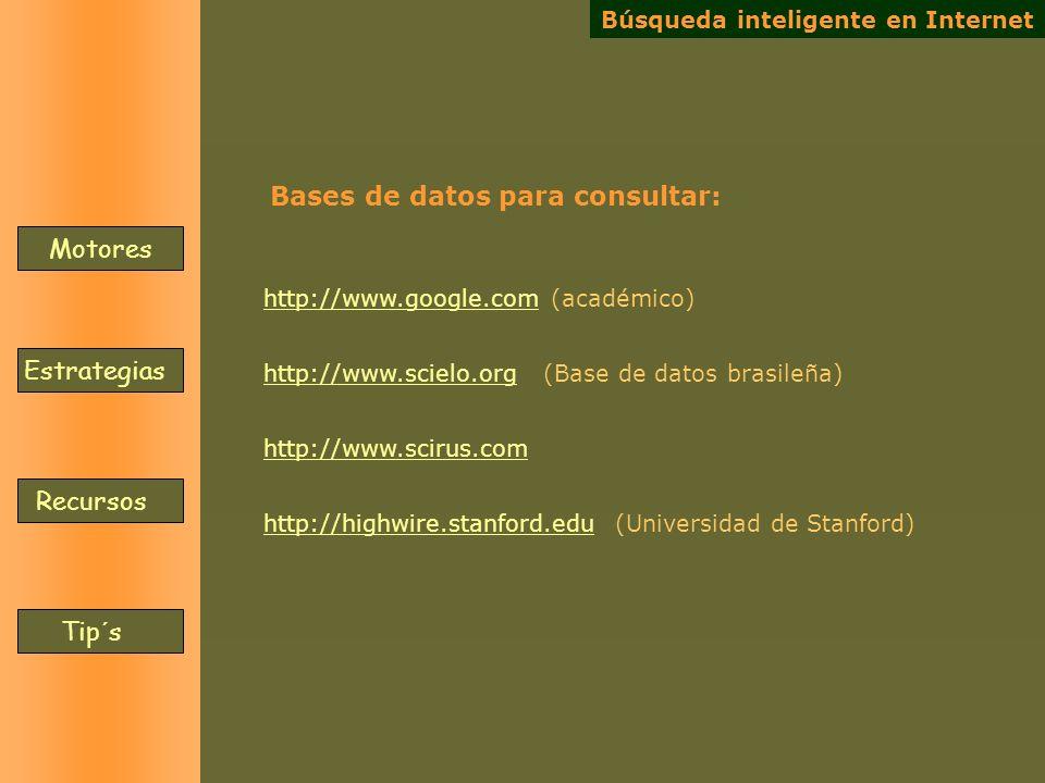 Bases de datos para consultar: