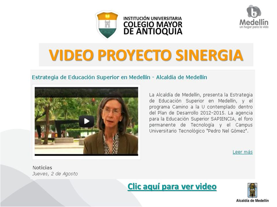 VIDEO PROYECTO SINERGIA Clic aquí para ver video