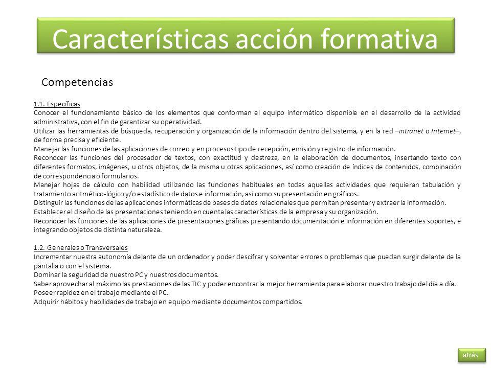 Características acción formativa
