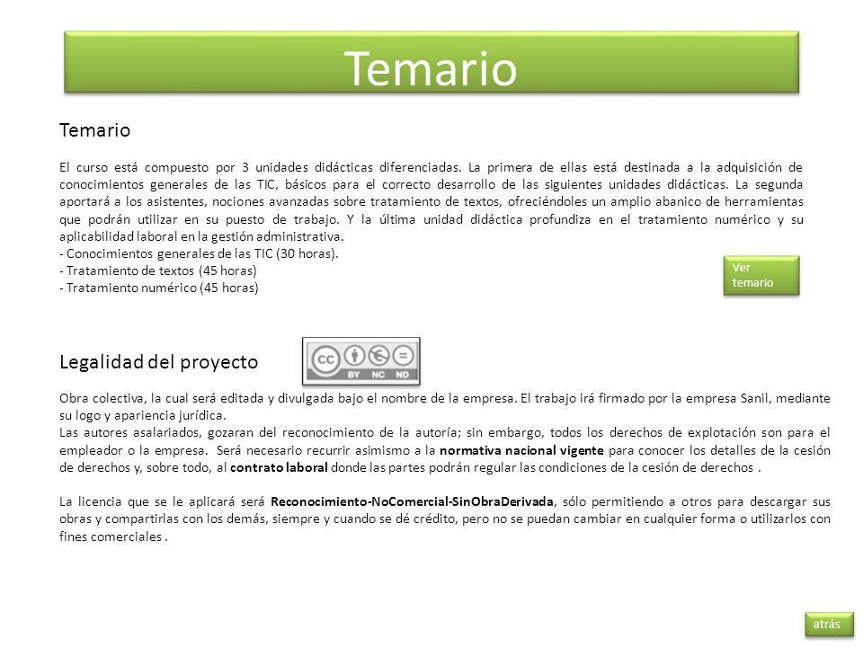 Temario Temario Legalidad del proyecto