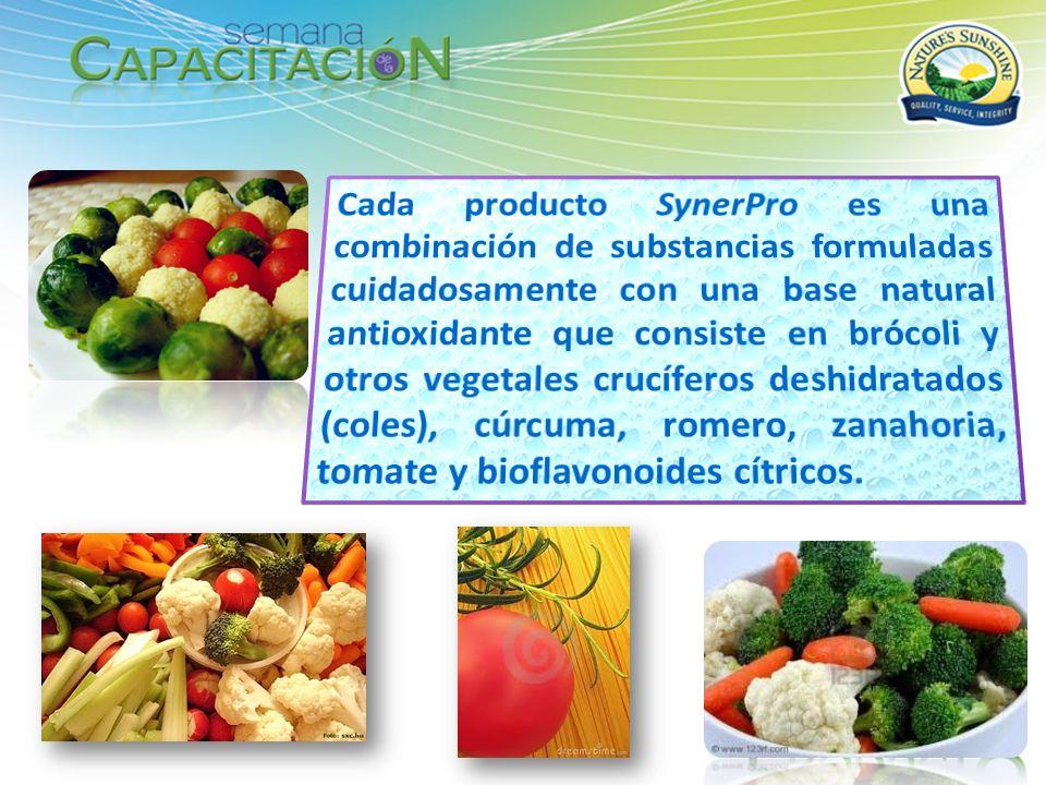 Cada producto SynerPro es una combinación de substancias formuladas cuidadosamente con una base natural antioxidante que consiste en brócoli y otros vegetales crucíferos deshidratados (coles), cúrcuma, romero, zanahoria, tomate y bioflavonoides cítricos.