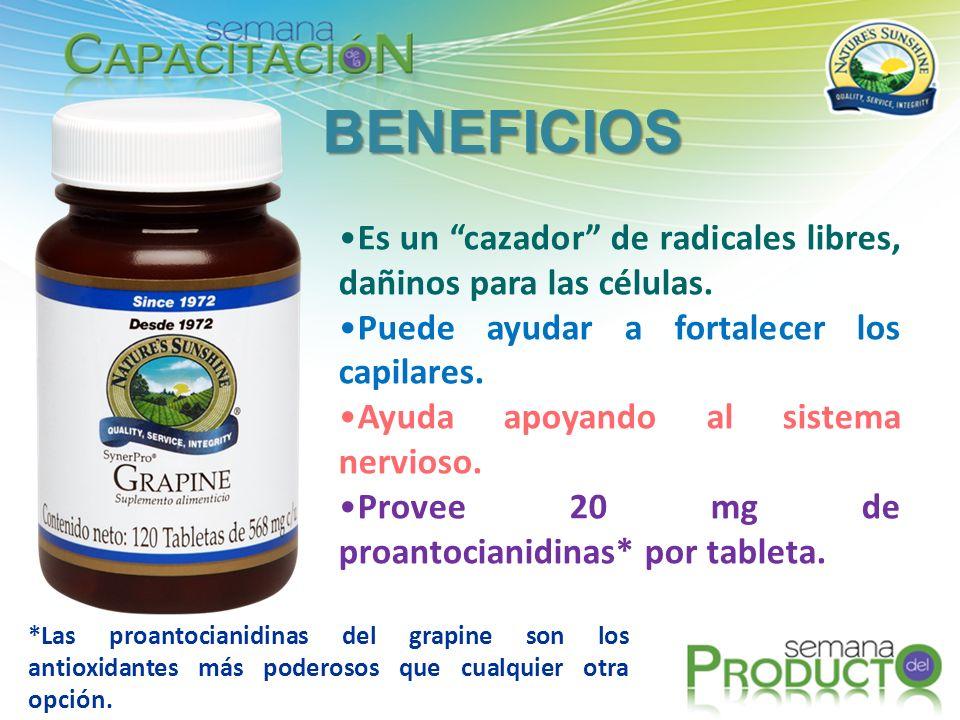 BENEFICIOS Es un cazador de radicales libres, dañinos para las células. Puede ayudar a fortalecer los capilares.