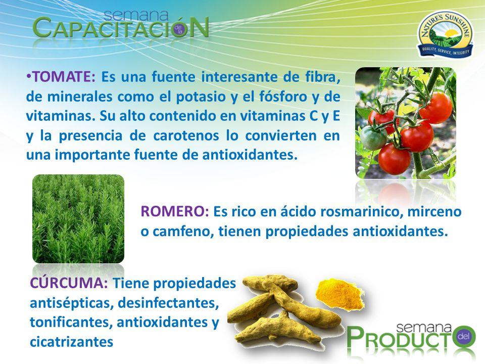 TOMATE: Es una fuente interesante de fibra, de minerales como el potasio y el fósforo y de vitaminas. Su alto contenido en vitaminas C y E y la presencia de carotenos lo convierten en una importante fuente de antioxidantes.