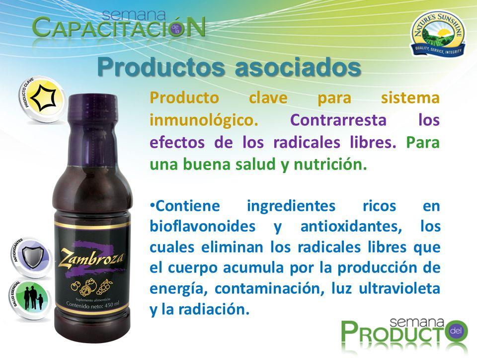 Productos asociados Producto clave para sistema inmunológico. Contrarresta los efectos de los radicales libres. Para una buena salud y nutrición.