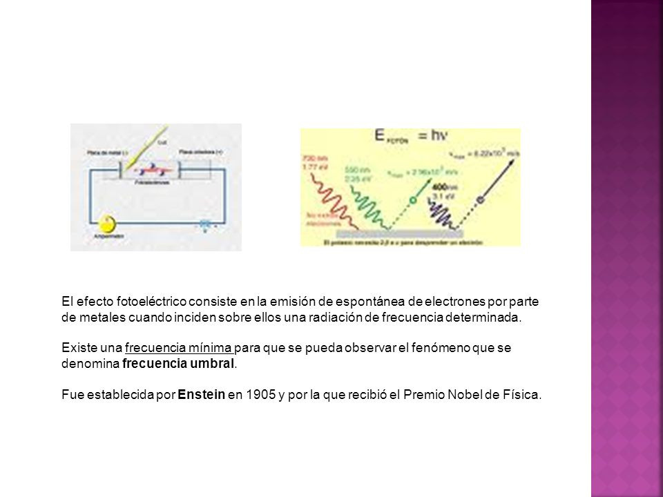 El efecto fotoeléctrico consiste en la emisión de espontánea de electrones por parte