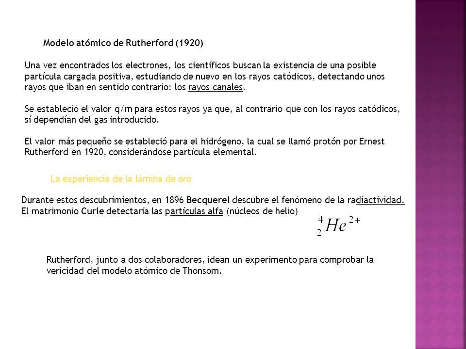 Modelo atómico de Rutherford (1920)