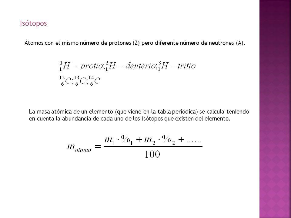 Isótopos Átomos con el mismo número de protones (Z) pero diferente número de neutrones (A).