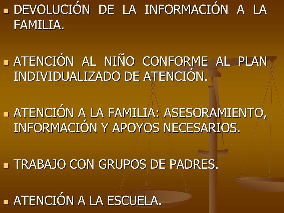 DEVOLUCIÓN DE LA INFORMACIÓN A LA FAMILIA.