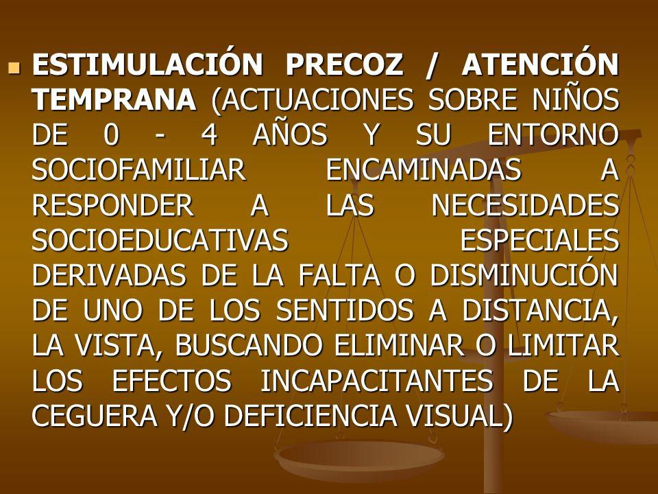 ESTIMULACIÓN PRECOZ / ATENCIÓN TEMPRANA (ACTUACIONES SOBRE NIÑOS DE 0 ‑ 4 AÑOS Y SU ENTORNO SOCIOFAMILIAR ENCAMINADAS A RESPONDER A LAS NECESIDADES SOCIOEDUCATIVAS ESPECIALES DERIVADAS DE LA FALTA O DISMINUCIÓN DE UNO DE LOS SENTIDOS A DISTANCIA, LA VISTA, BUSCANDO ELIMINAR O LIMITAR LOS EFECTOS INCAPACITANTES DE LA CEGUERA Y/O DEFICIENCIA VISUAL)