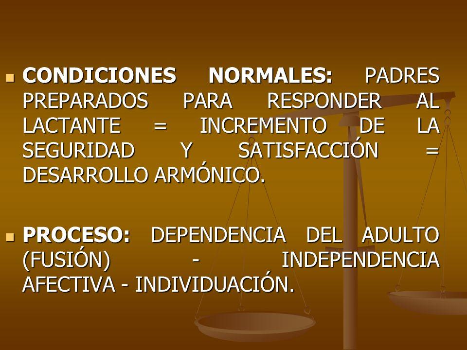 CONDICIONES NORMALES: PADRES PREPARADOS PARA RESPONDER AL LACTANTE = INCREMENTO DE LA SEGURIDAD Y SATISFACCIÓN = DESARROLLO ARMÓNICO.
