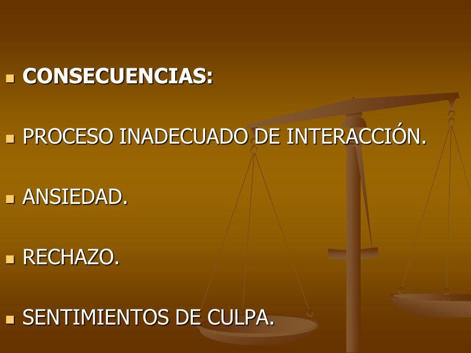 CONSECUENCIAS: PROCESO INADECUADO DE INTERACCIÓN. ANSIEDAD. RECHAZO. SENTIMIENTOS DE CULPA.