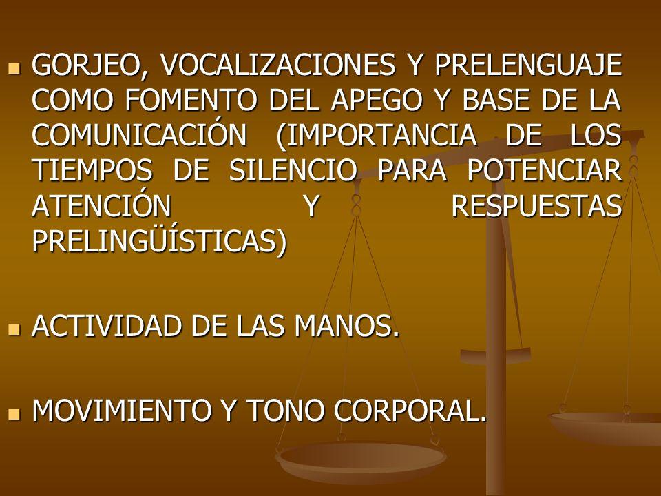 GORJEO, VOCALIZACIONES Y PRELENGUAJE COMO FOMENTO DEL APEGO Y BASE DE LA COMUNICACIÓN (IMPORTANCIA DE LOS TIEMPOS DE SILENCIO PARA POTENCIAR ATENCIÓN Y RESPUESTAS PRELINGÜÍSTICAS)