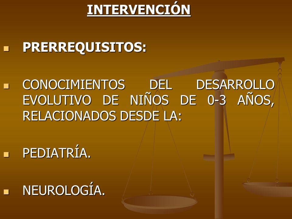 INTERVENCIÓNPRERREQUISITOS: CONOCIMIENTOS DEL DESARROLLO EVOLUTIVO DE NIÑOS DE 0-3 AÑOS, RELACIONADOS DESDE LA: