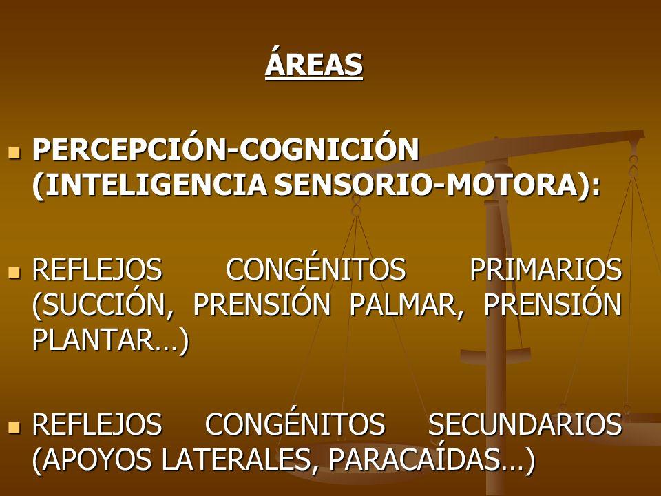 ÁREASPERCEPCIÓN-COGNICIÓN (INTELIGENCIA SENSORIO-MOTORA): REFLEJOS CONGÉNITOS PRIMARIOS (SUCCIÓN, PRENSIÓN PALMAR, PRENSIÓN PLANTAR…)