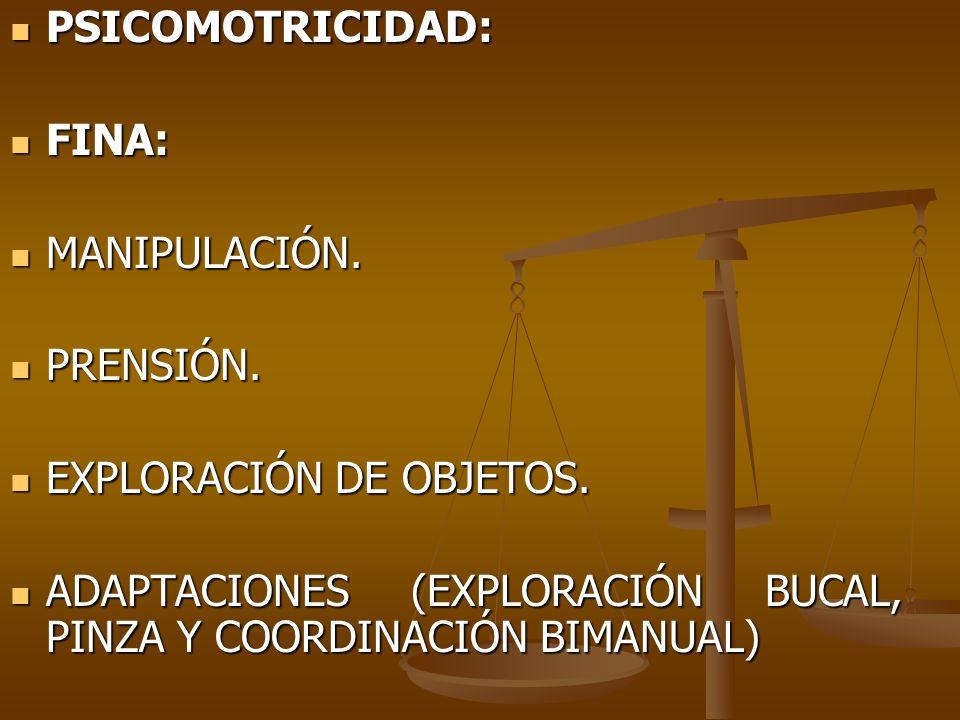 PSICOMOTRICIDAD: FINA: MANIPULACIÓN. PRENSIÓN. EXPLORACIÓN DE OBJETOS.