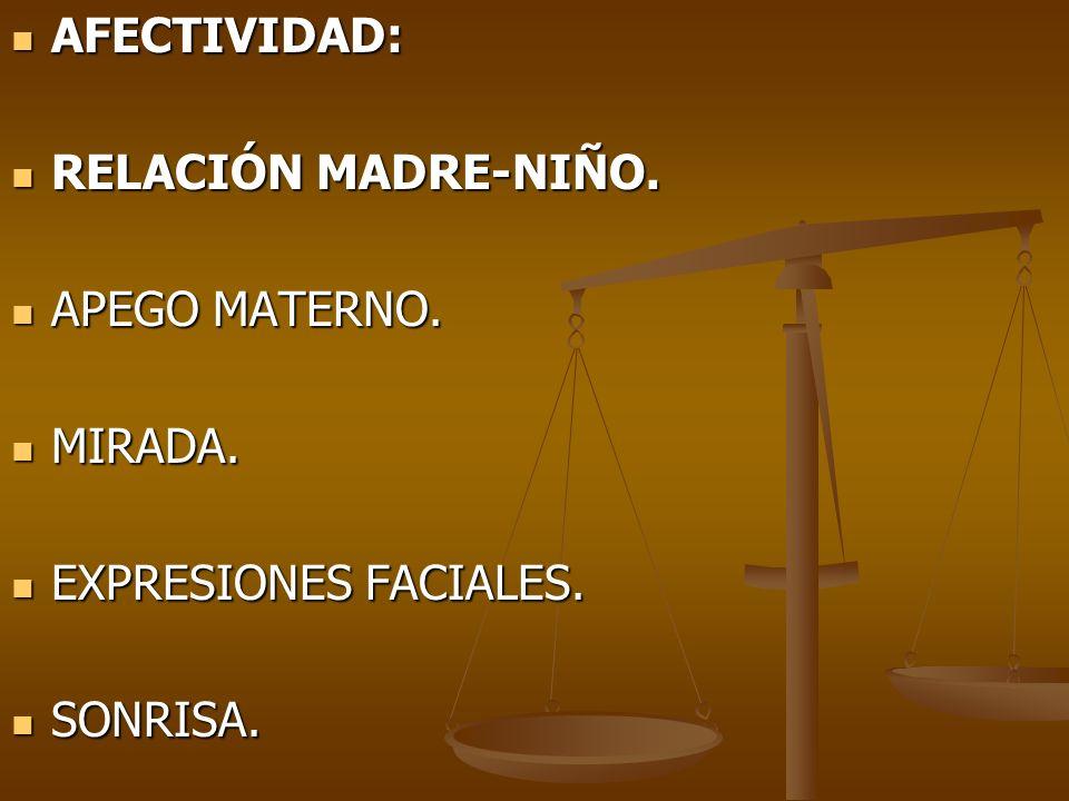 AFECTIVIDAD: RELACIÓN MADRE-NIÑO. APEGO MATERNO. MIRADA. EXPRESIONES FACIALES. SONRISA.