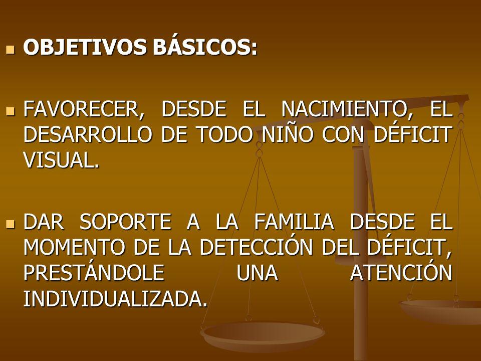 OBJETIVOS BÁSICOS:FAVORECER, DESDE EL NACIMIENTO, EL DESARROLLO DE TODO NIÑO CON DÉFICIT VISUAL.
