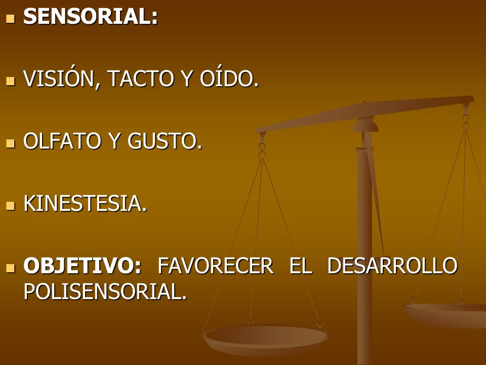 SENSORIAL:VISIÓN, TACTO Y OÍDO.OLFATO Y GUSTO. KINESTESIA.