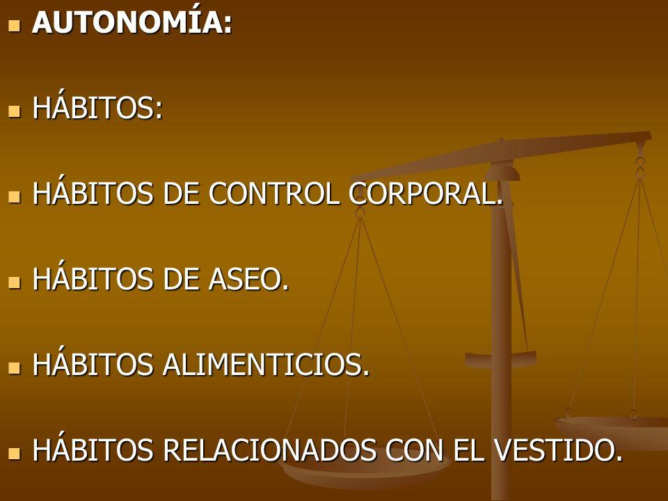 AUTONOMÍA: HÁBITOS: HÁBITOS DE CONTROL CORPORAL. HÁBITOS DE ASEO.