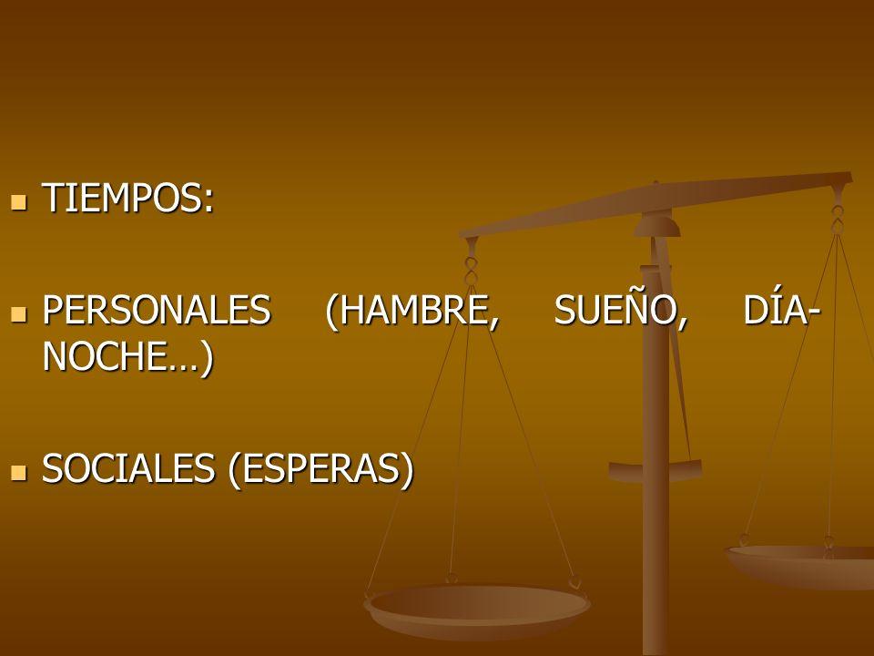 TIEMPOS: PERSONALES (HAMBRE, SUEÑO, DÍA-NOCHE…) SOCIALES (ESPERAS)