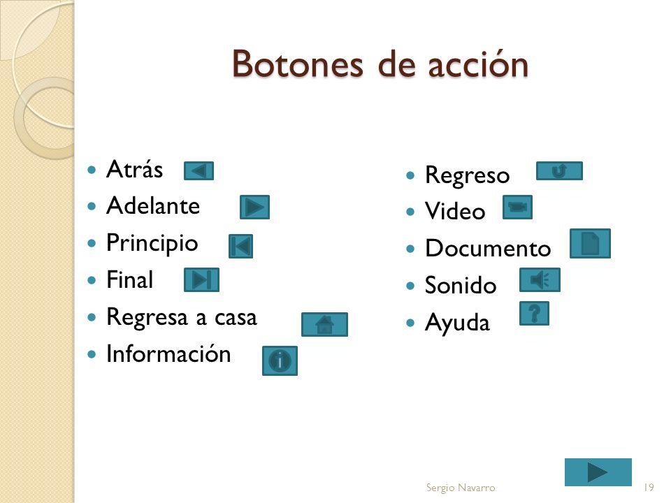 Botones de acción Atrás Regreso Adelante Video Principio Documento