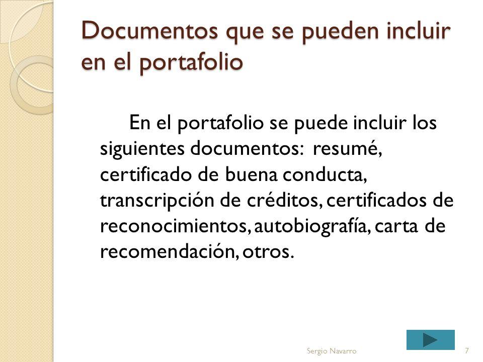 Documentos que se pueden incluir en el portafolio