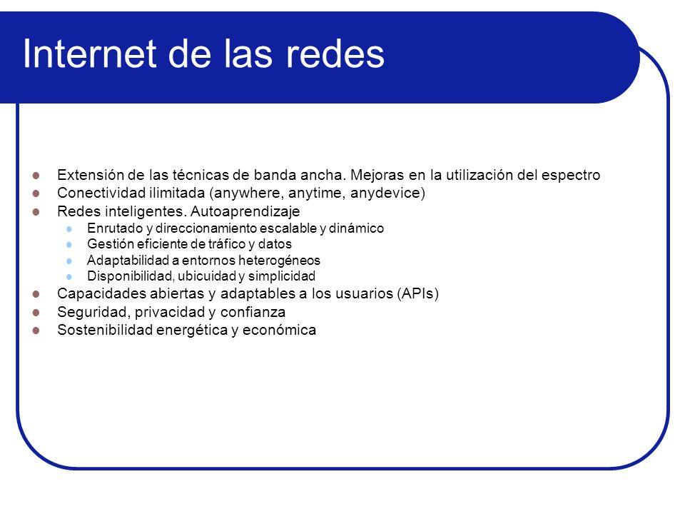 Internet de las redesExtensión de las técnicas de banda ancha. Mejoras en la utilización del espectro.