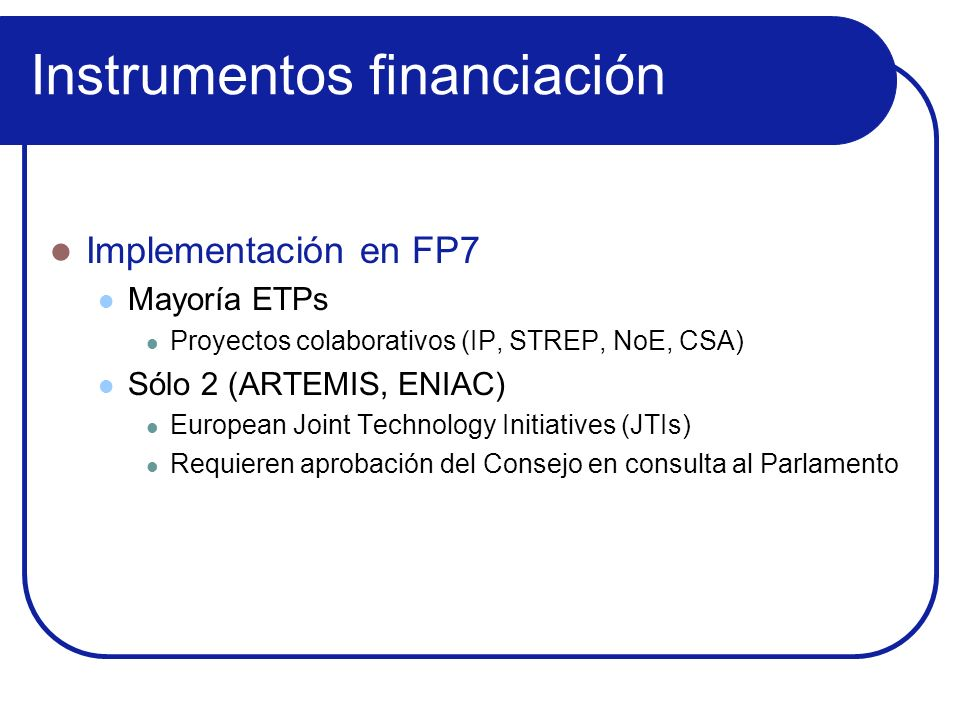 Instrumentos financiación