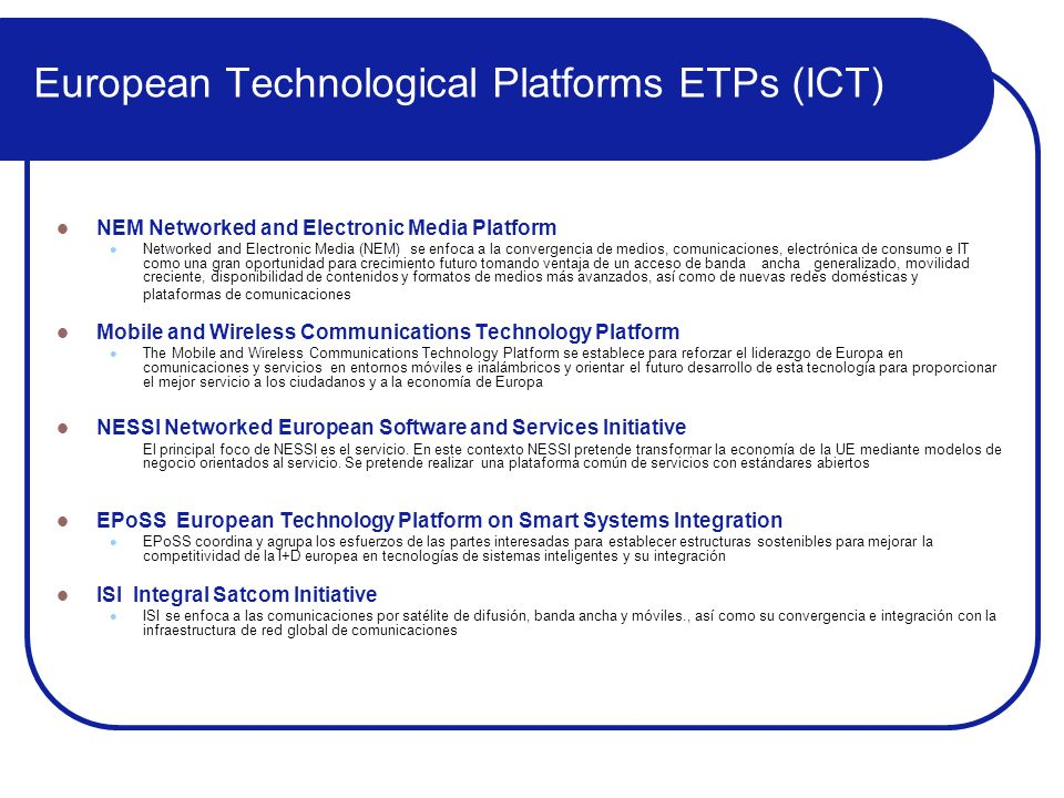 European Technological Platforms ETPs (ICT)