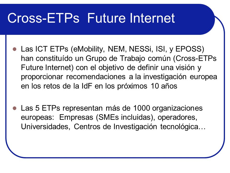 Cross-ETPs Future Internet