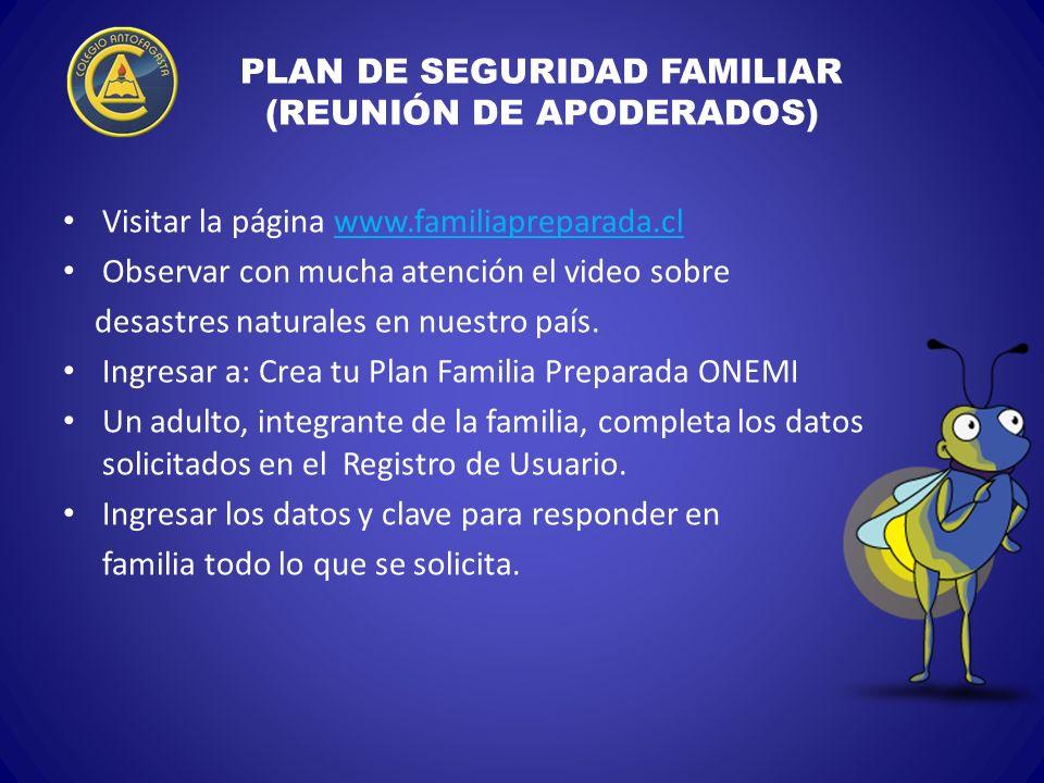 PLAN DE SEGURIDAD FAMILIAR (REUNIÓN DE APODERADOS)