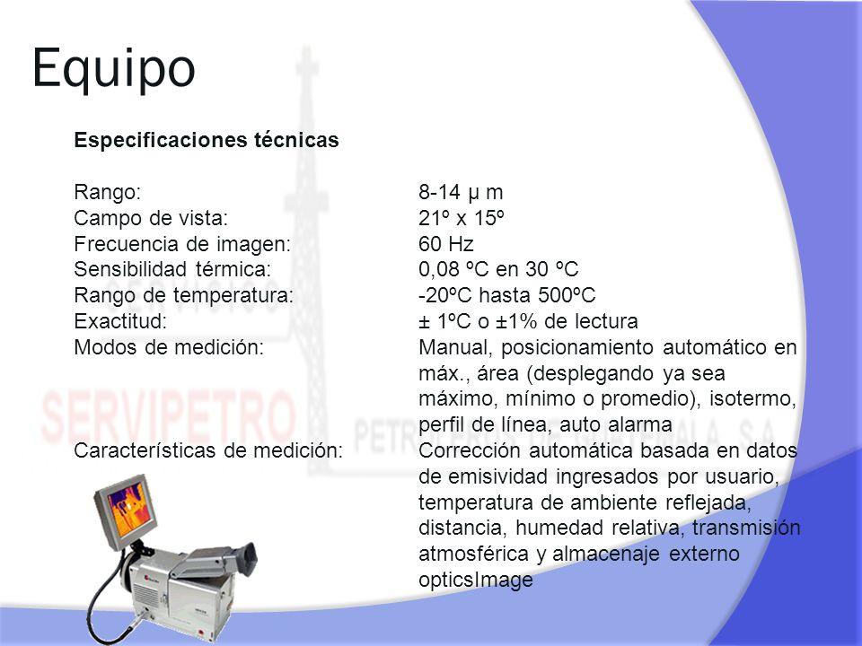 Equipo Especificaciones técnicas Rango: 8-14 µ m