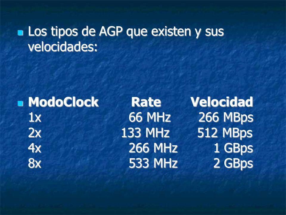 Los tipos de AGP que existen y sus velocidades: