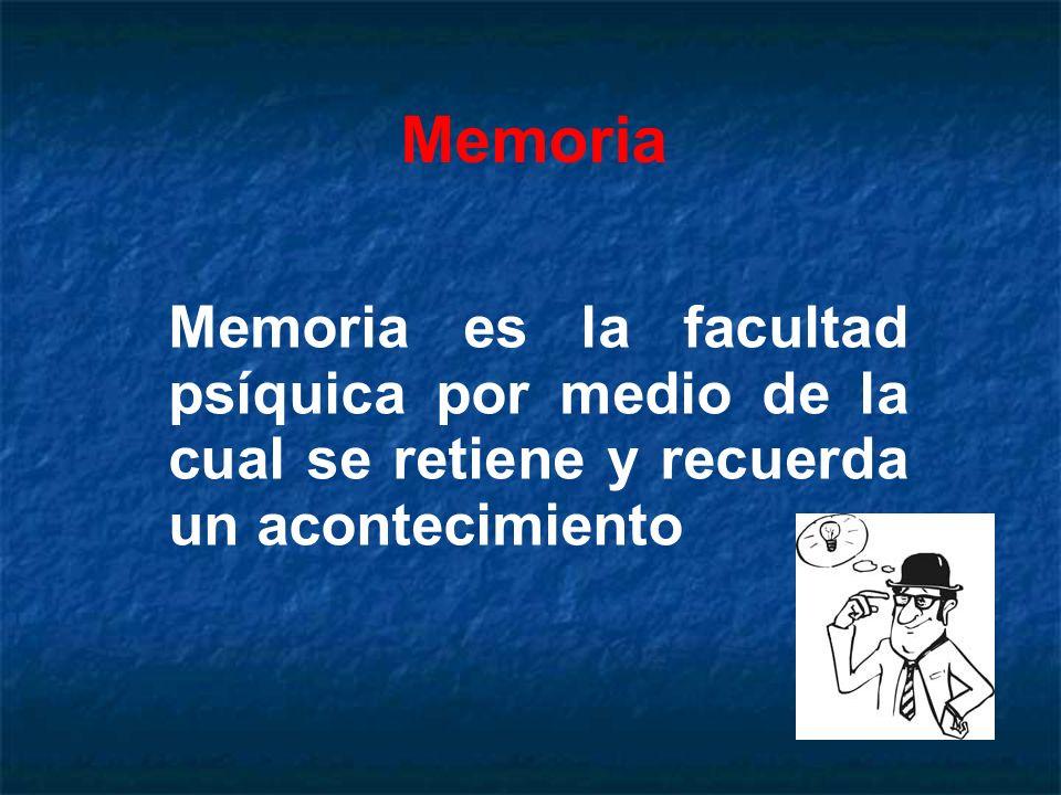 MemoriaMemoria es la facultad psíquica por medio de la cual se retiene y recuerda un acontecimiento.