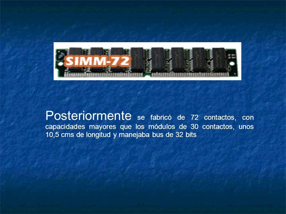 Posteriormente se fabricó de 72 contactos, con capacidades mayores que los módulos de 30 contactos, unos 10,5 cms de longitud y manejaba bus de 32 bits