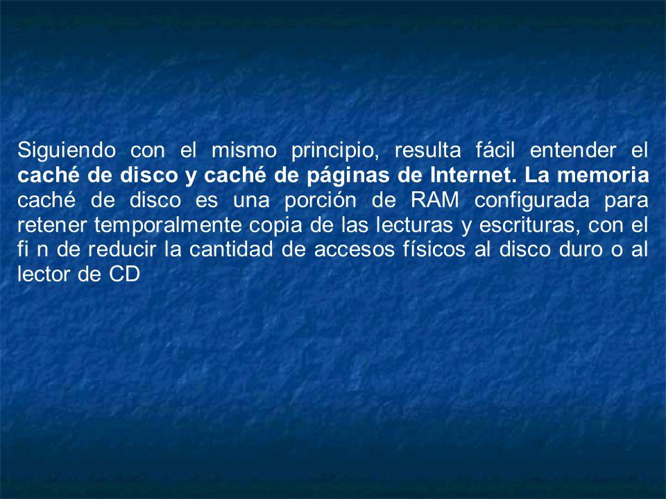 Siguiendo con el mismo principio, resulta fácil entender el caché de disco y caché de páginas de Internet.
